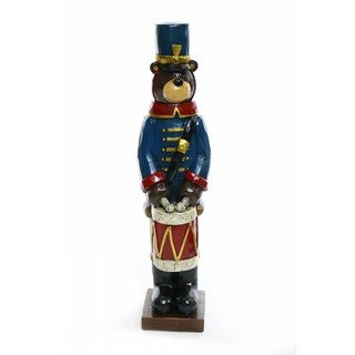 Alpine Corporation Christmas Soldier Bear with Drum Statue
