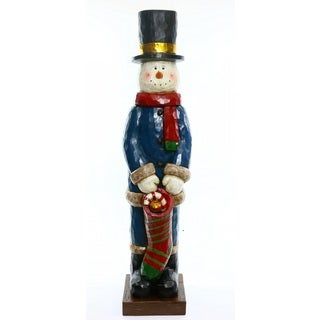 Alpine Corporation Multicolored Snowman with Christmas Stocking Statue