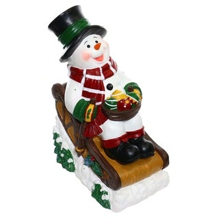 Alpine Solar Snowman in Sleigh with 12 LED Lights and Timer, 24 Inch Tall