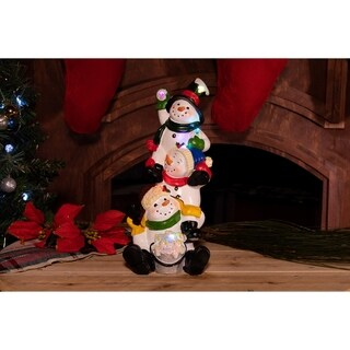 """13"""" Three Snowmen Statuary with Color Changing LED Lights-TM"""
