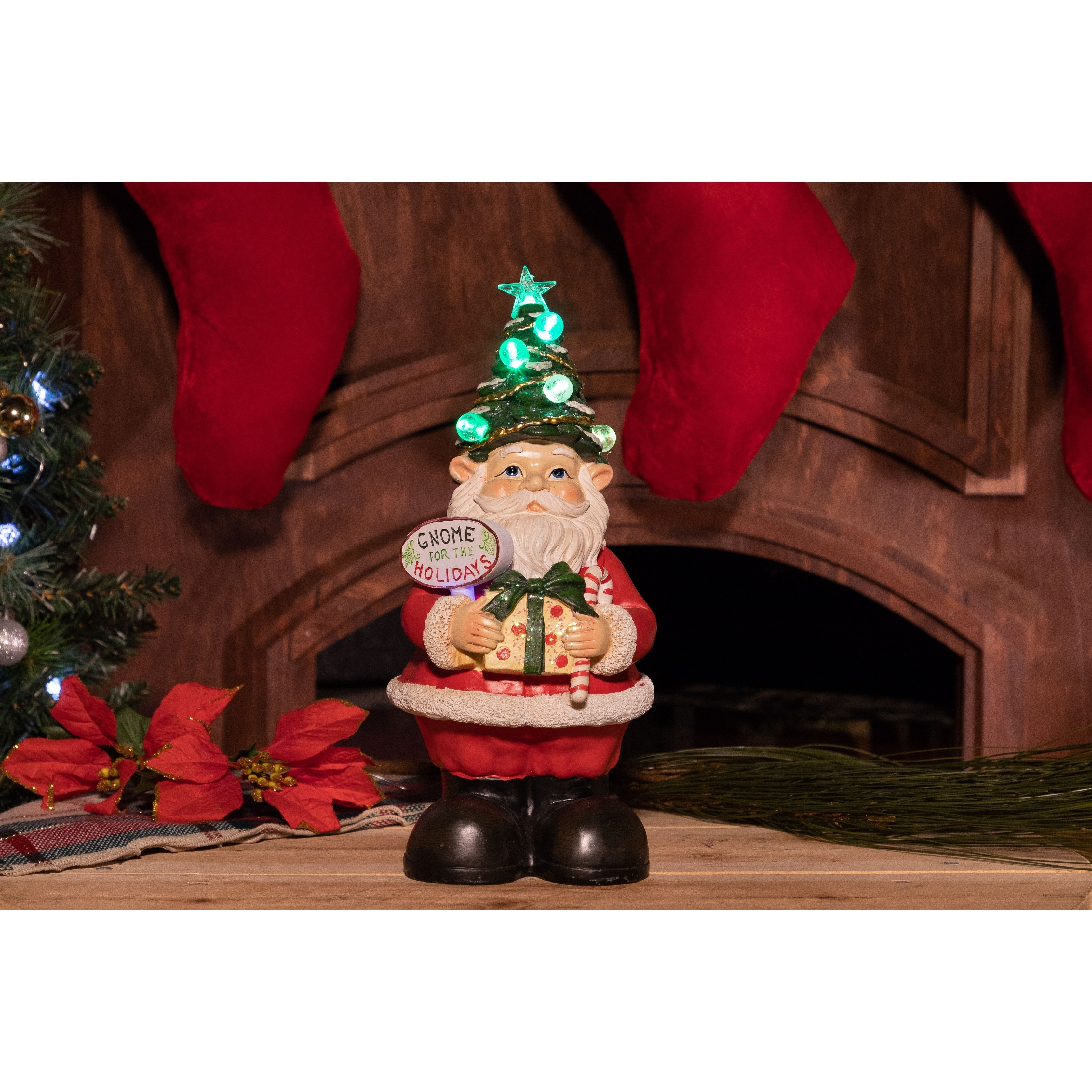 Alpine Corporation Xmas Gnome Statues with Color Changing...