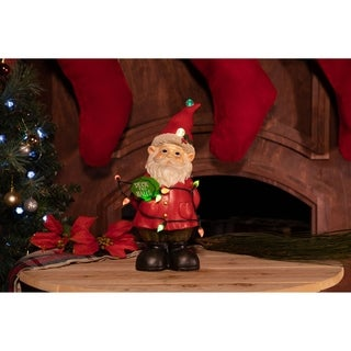 Xmas Gnome Statues with Color Changing LED Lights -TM