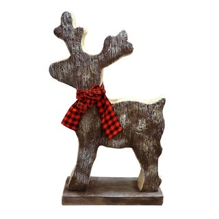 Alpine Corporation Christmas Reindeer Statue with Ribbon
