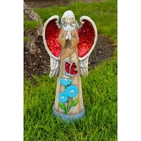 Alpine Corporation 24-inch Angel Statue with Red Glitter Mosaic WIngs