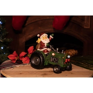 Santa on Tractor decor with Color Changing LED Lights - TM