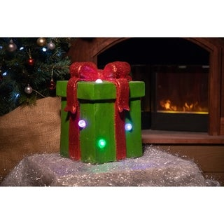 Alpine Christmas Snowman Statue with LED Lights and Timer, 12 Inch Tall