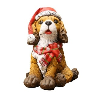 Alpine Corporation Santa Hat and Red Scarf Decor with 3 LED Timed Lights