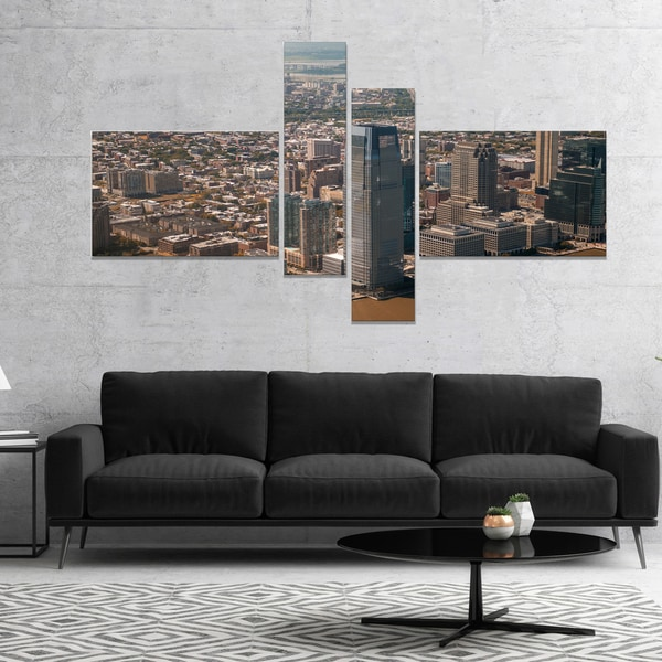 Designart 'Aerial View of City from Helicopter' Large Cityscape Canvas Art Print
