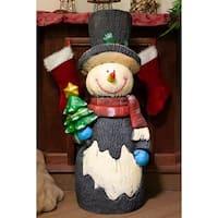 Alpine Christmas Snowman Statue, 48 Inch Tall