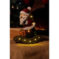Alpine Santa on a Sleigh Statue w/ LED Lights and Timer, 16 Inch Tall