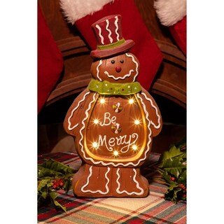 Christmas Gingerbread Man Light Up Statue Decor- TM