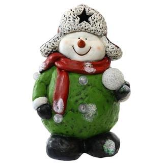 Alpine Corporation TM Snowman Holding Snowball Color-changing LEDs Statue