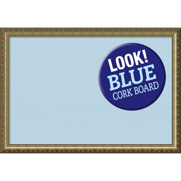 Framed Blue Cork Board, Parisian Bronze