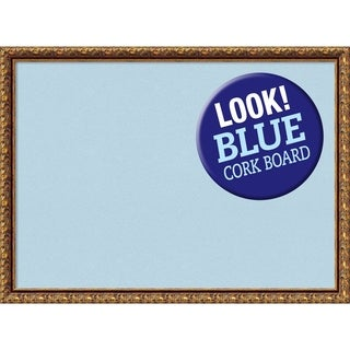 Framed Blue Cork Board, Antique Bronze