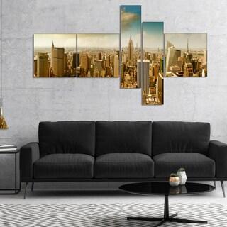 Designart 'Midtown and Downtown Manhattan' Modern Cityscape Canvas Art Print