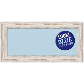 Framed Blue Cork Board, Alexandria White Wash