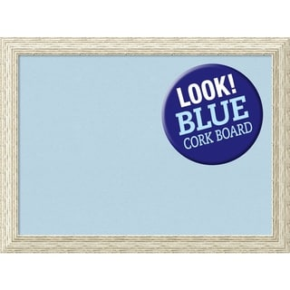 Framed Blue Cork Board, Cape Cod White Wash