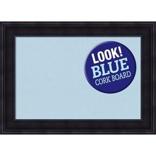 Framed Blue Cork Board, Annatto Mahogany