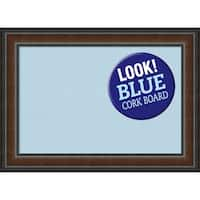 Framed Blue Cork Board, Cyprus Walnut