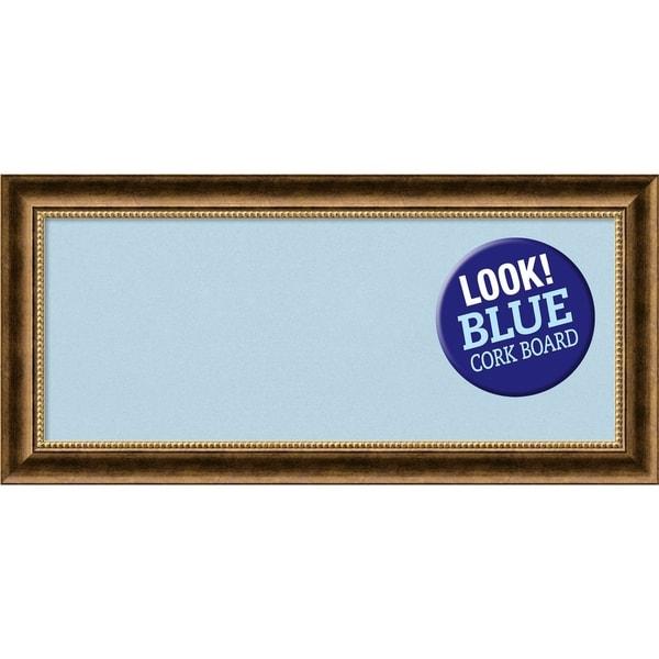 Framed Blue Cork Board, Manhattan Bronze