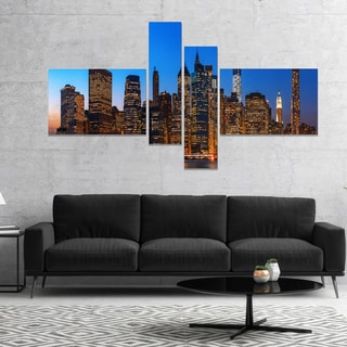 Designart 'Night New York City Panorama' Extra Large Canvas Art Print