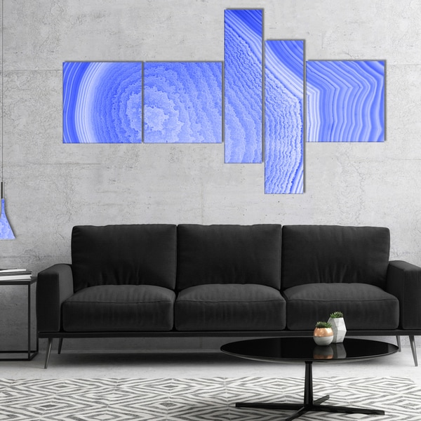 Designart 'Dark Blue Agate Structure' Abstract Canvas Art Print