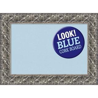 Framed Blue Cork Board, Silver Luxor