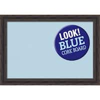 Framed Blue Cork Board, Rustic Pine