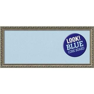 Framed Blue Cork Board, Parisian Silver