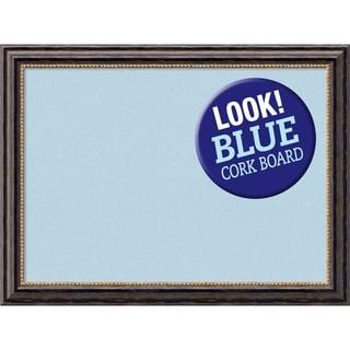 Framed Blue Cork Board, Tuscan Rustic