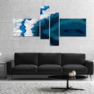Designart 'Blue Brazilian Geode' Abstract Canvas Wall Art Print
