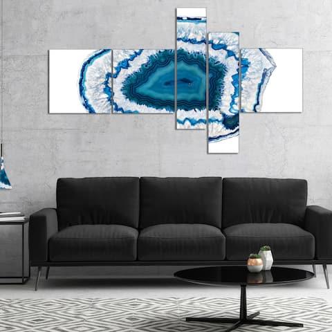 Designart 'Blue Agate Crystal' Abstract Canvas Wall Art Print