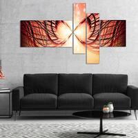 Designart 'Bright Light on Red Fractal Design' Abstract Canvas Wall Art Print