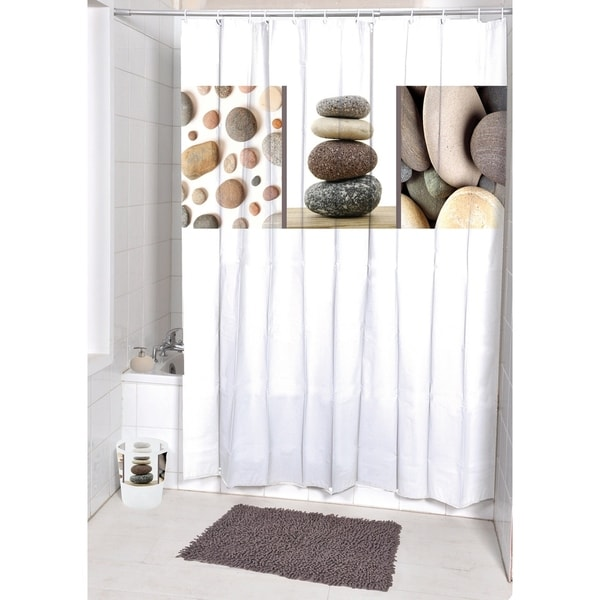 Evideco Printed Fabric Shower Curtain Belle Ile Polyester
