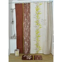 Evideco Printed Fabric Shower Curtain Jade Polyester