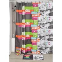 Evideco Printed Fabric Shower Curtain Urban NYC Polyester
