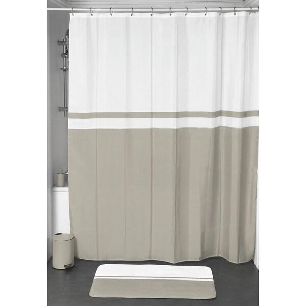 Evideco Shower Curtain Velvet Effect Polyester Bi color