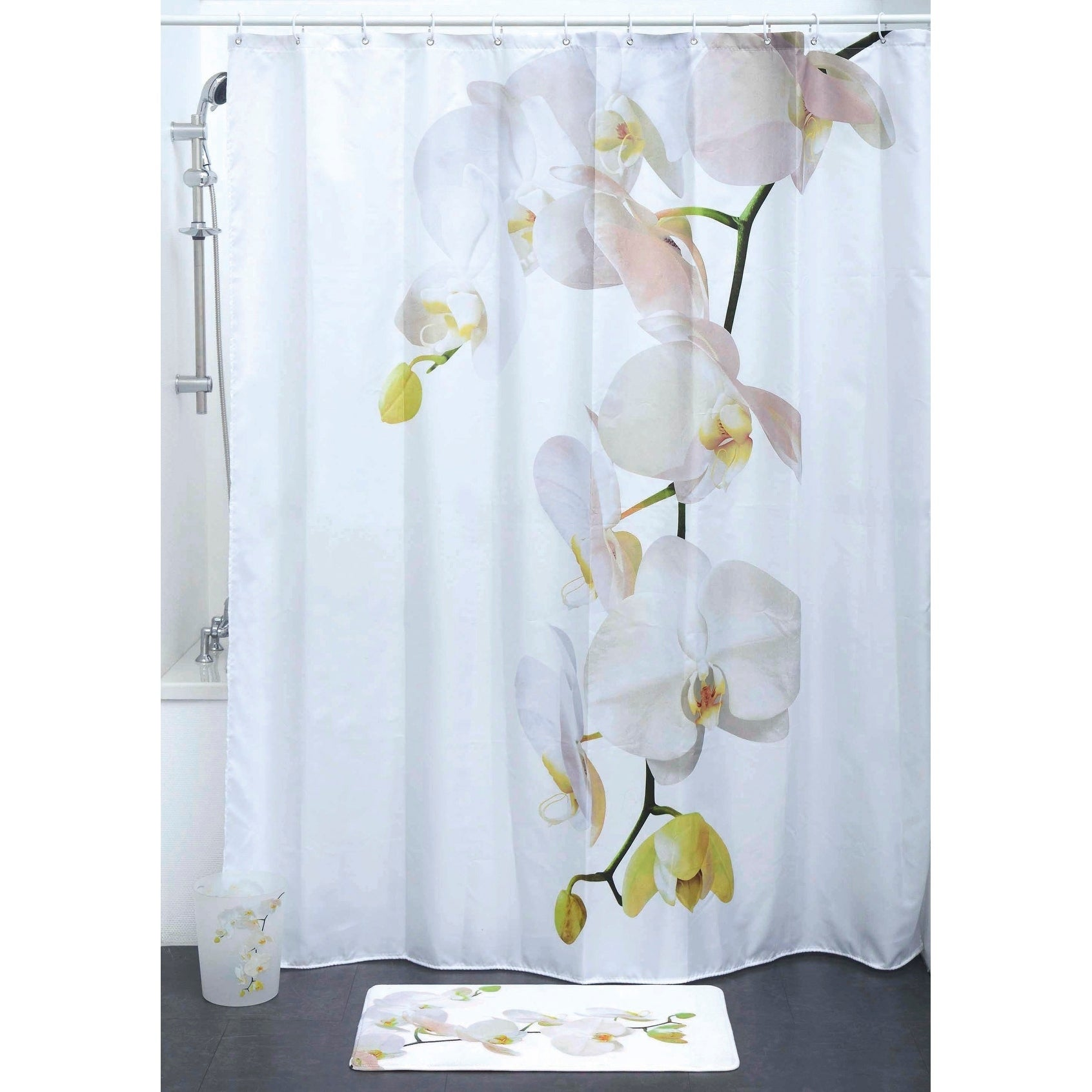 Evideco Printed Fabric Shower Curtain Purity Orchid Polye...