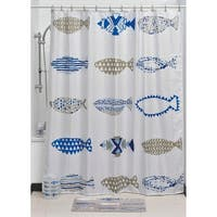 Evideco Printed Fabric Shower Curtain Nautical Polyester