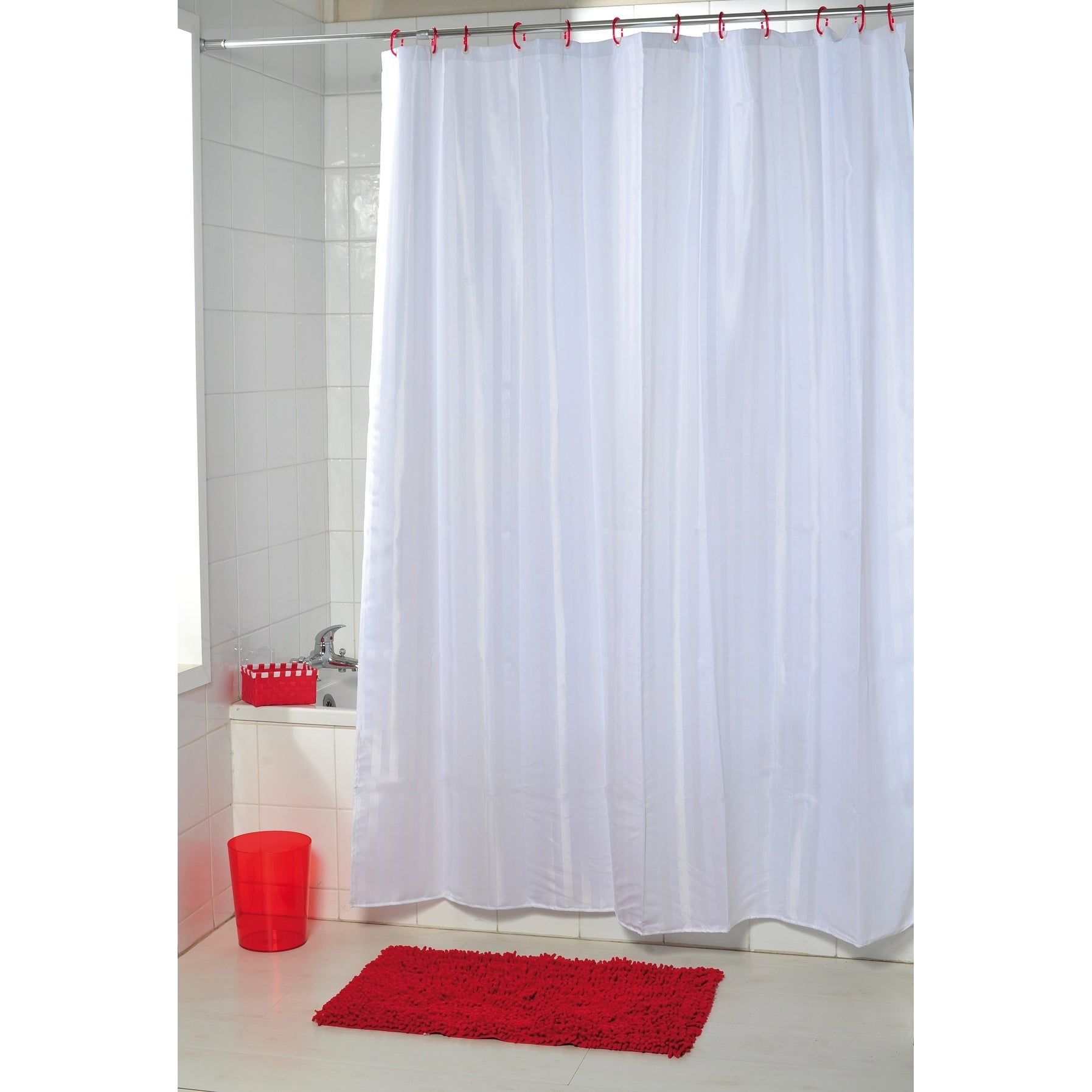 Evideco Fabric Shower Curtain Polyester Vertical Stripes
