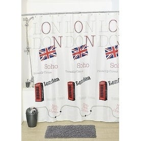 Evideco Shower Curtain Fabric Polyester British with 12 Rings