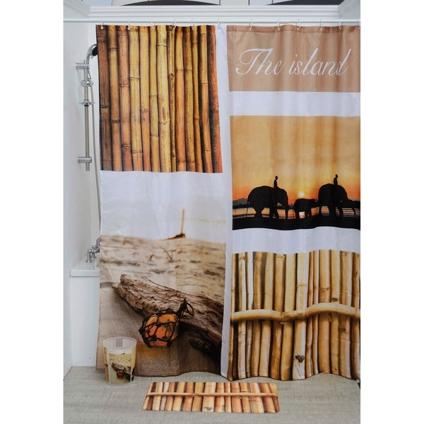 Evideco Printed Fabric Shower Curtain The Island Polyester