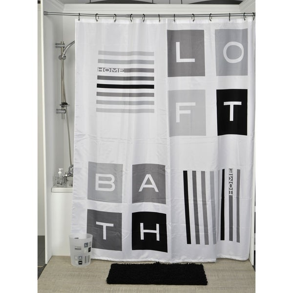 Evideco Printed Fabric Shower Curtain Peace and Loft Polyester