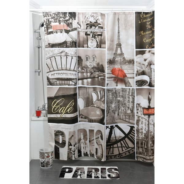 Evideco Printed Fabric Shower Curtain Cafe Paris Polyester