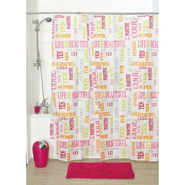 Evideco Shower Curtain Fabric Polyester Cool with 12 Rings