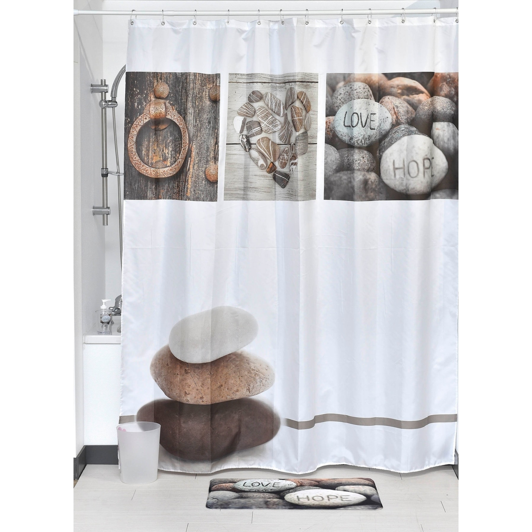 Evideco Printed Fabric Shower Curtain Design Nature Polyester Brown Grey