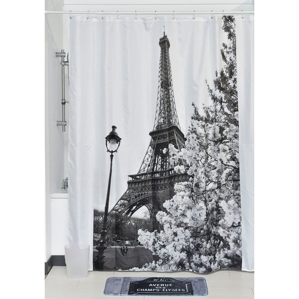 Evideco Printed Fabric Shower Curtain Paris City Polyester