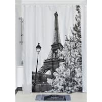 Evideco Printed Fabric Shower Curtain Paris City Polyester