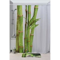 Evideco Printed Fabric Shower Curtain Zen and Co Polyester