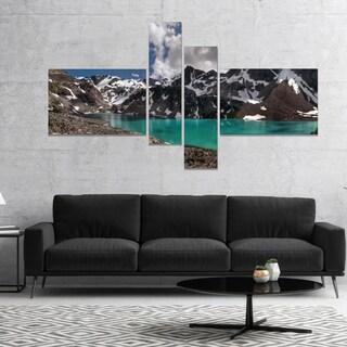 Designart 'Distant Mountains and Mountain Lake' Landscape Canvas Art Print - Blue